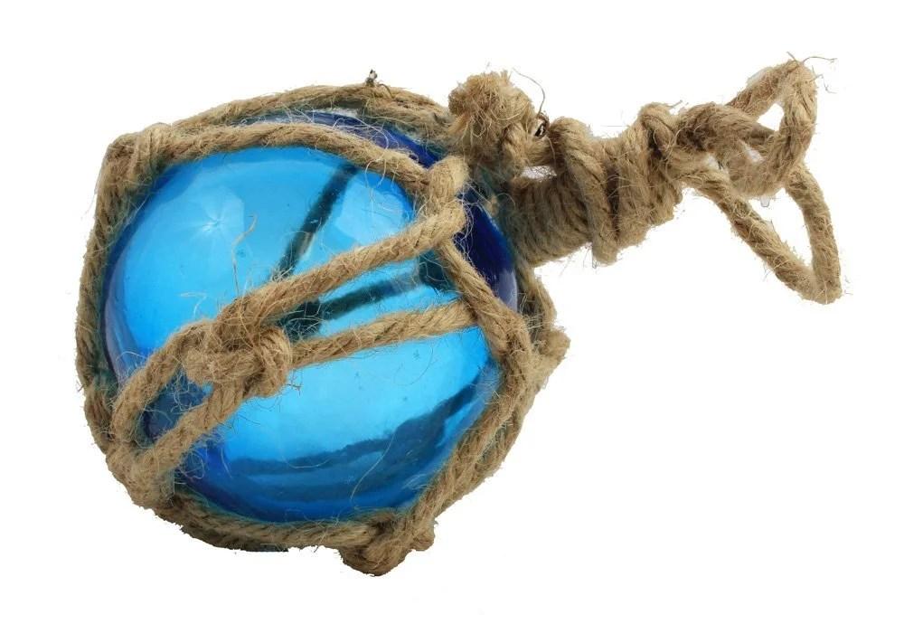 """3"""" Teal Glass Float in net"""