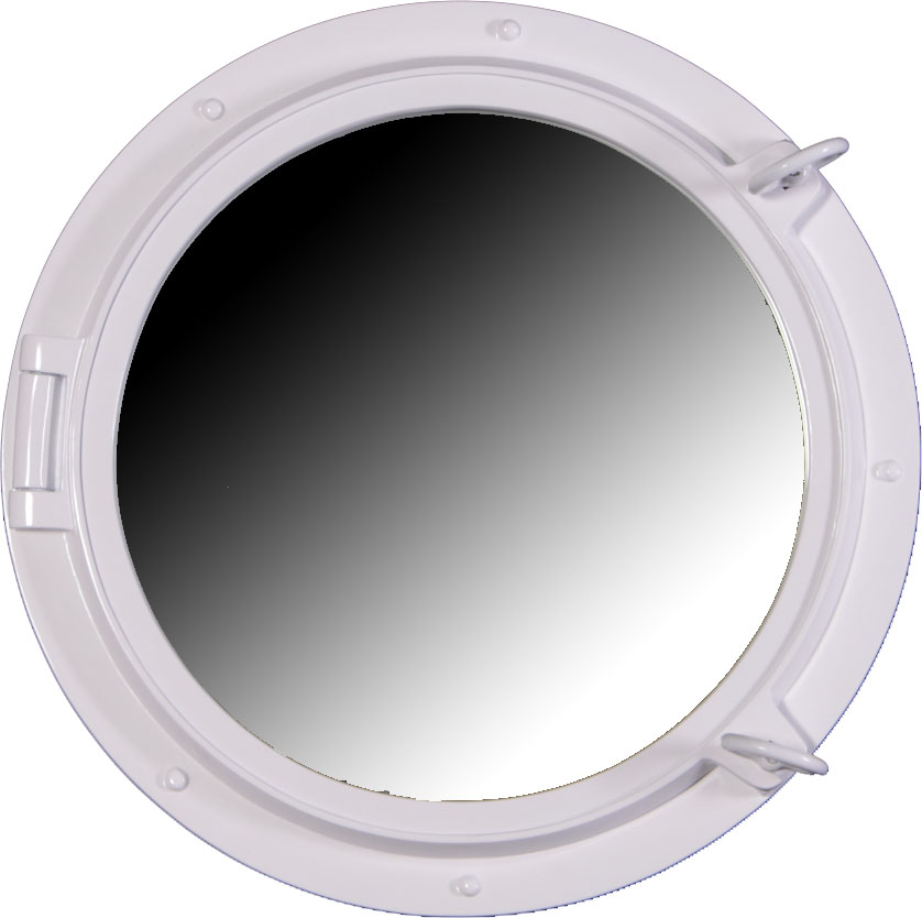 "24"" Duco White Finish Porthole Mirror Fiberglass Resin"