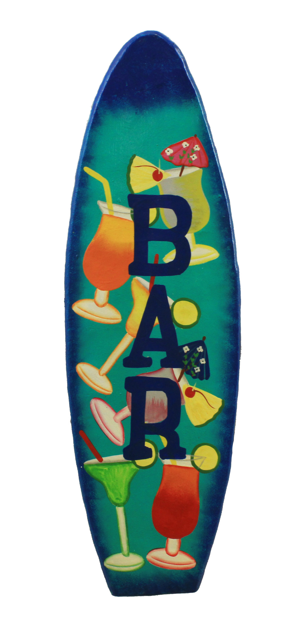 "18"" ""Bar"" Metal Surfboard Wall Art"