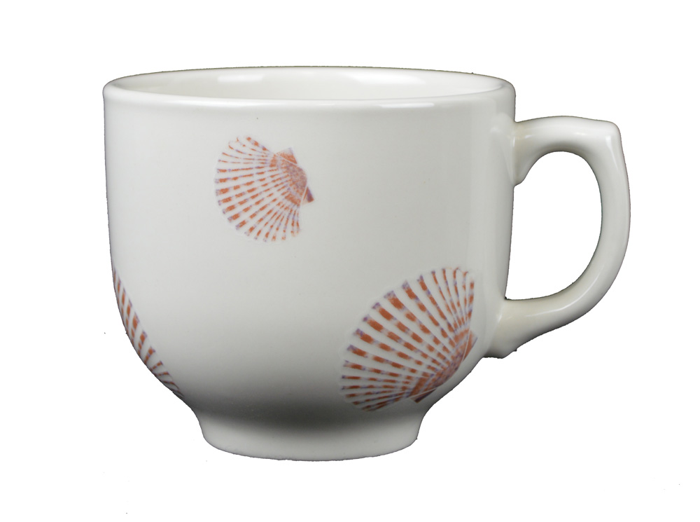 "4""H Ceramic Scallop Shell Round Latte Mug 12oz"
