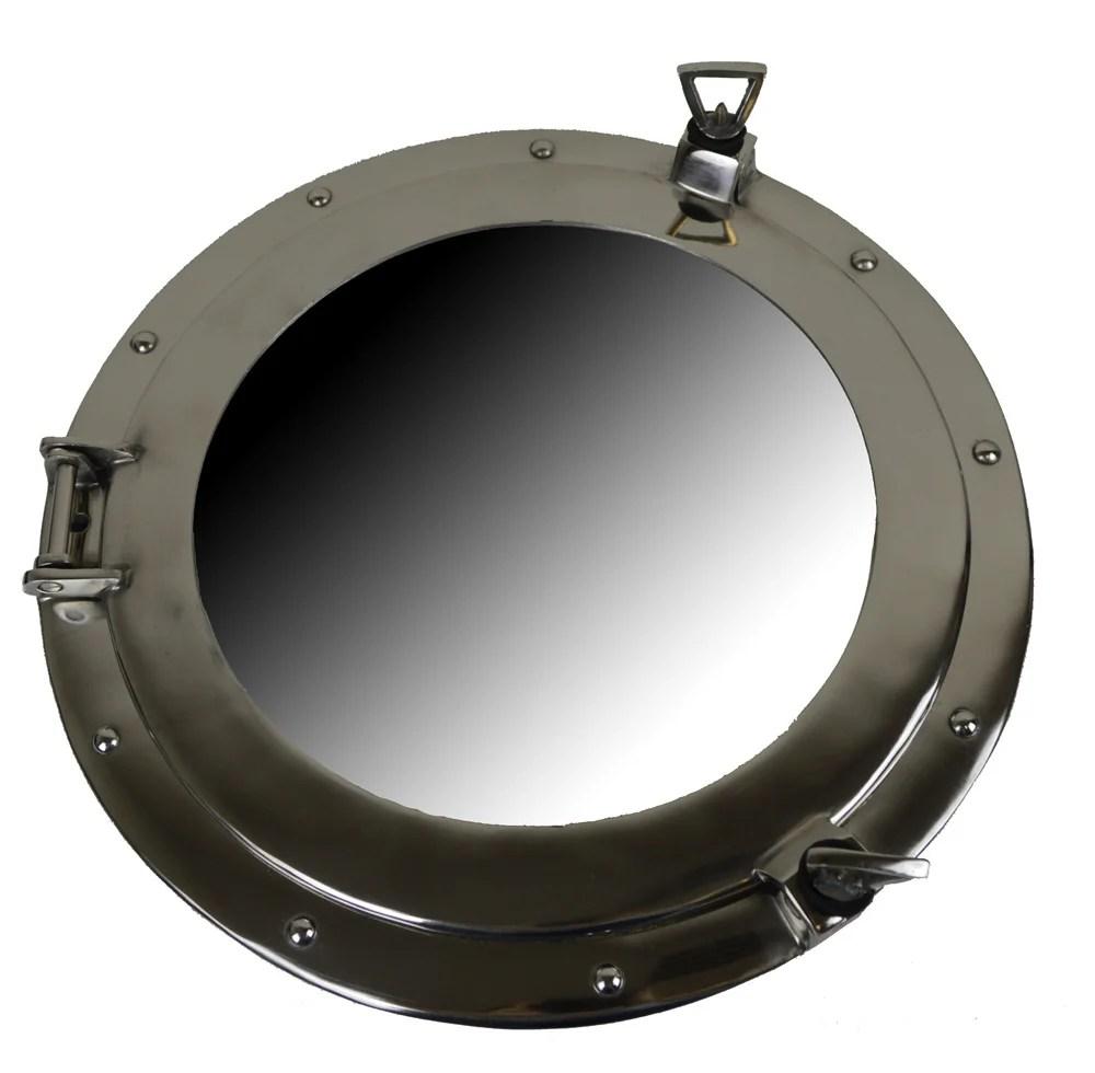 "17"" Nickel Finish over Aluminum Porthole Mirror - Wall Decor"
