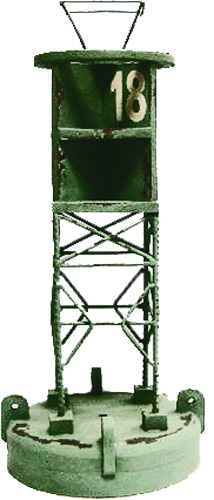 "18.5""h Solid Wood and Iron Green #18 Navigational Buoy"
