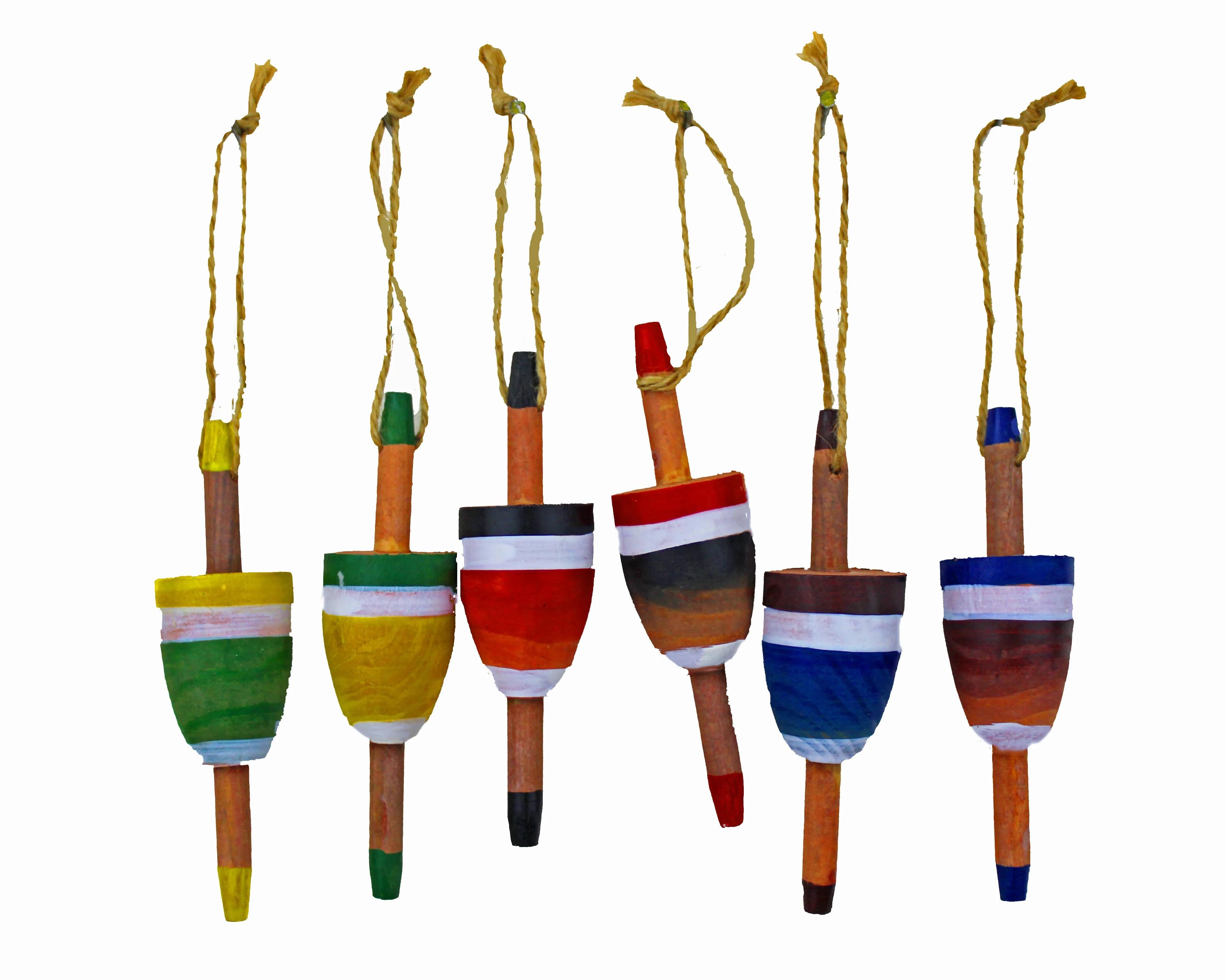 "4.5""H Set of 6 Wooden Hanging Buoy Figures"