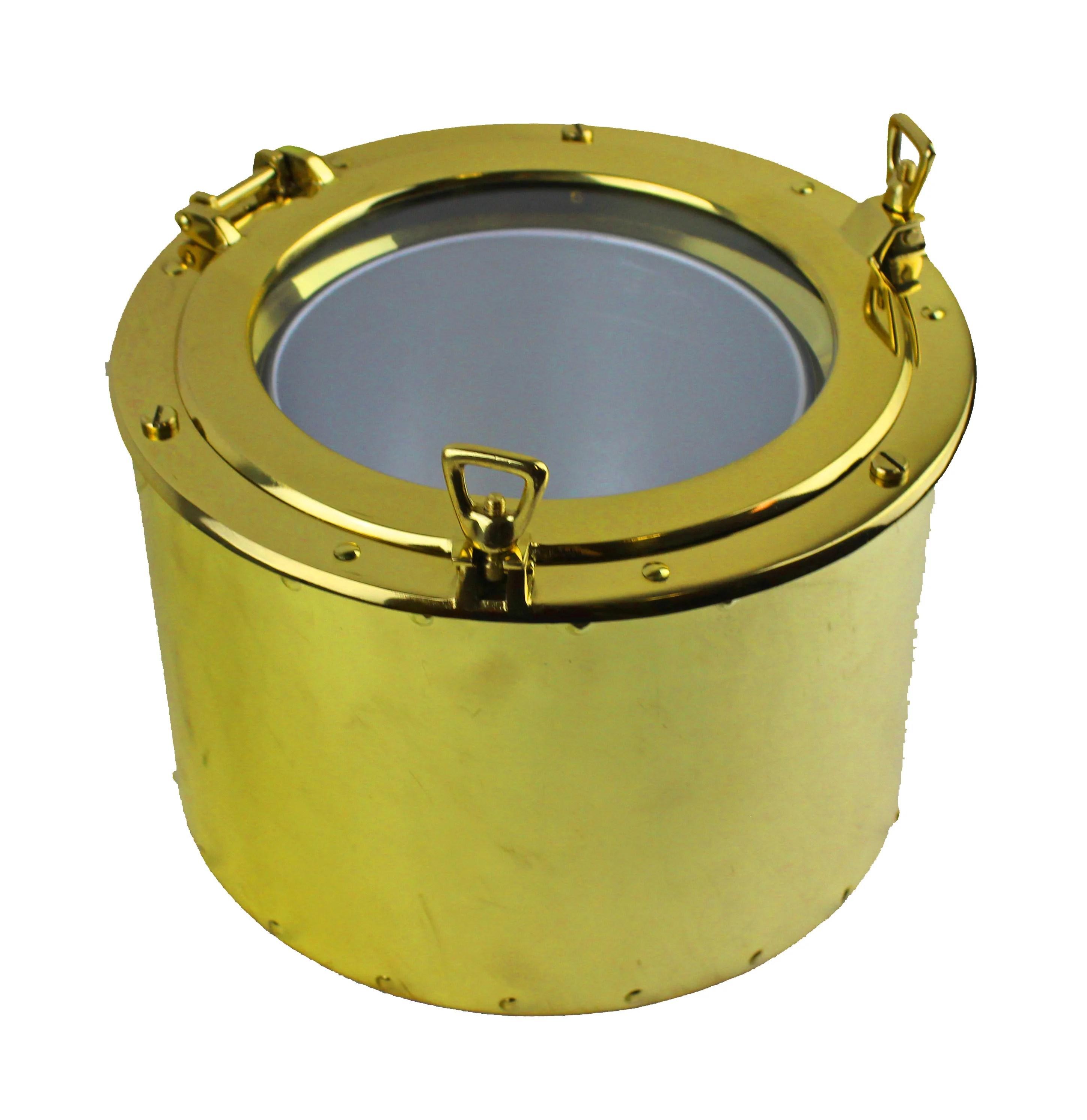 "11.5""Dia Solid Brass Porthole Ice Bucket"