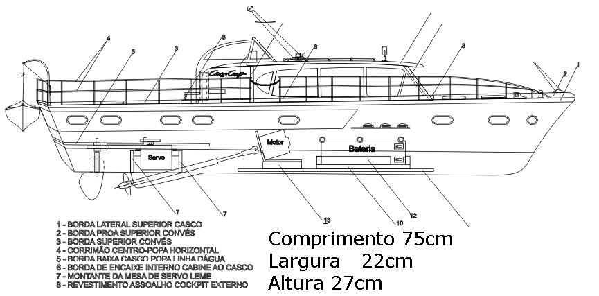 .Kit Completo Lancha Chris Craft Constellation 750mm