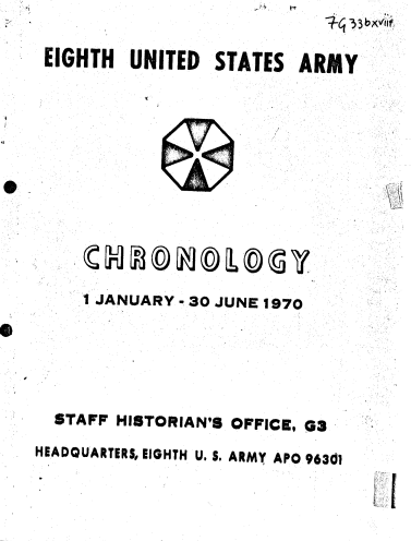 1970 Eighth United States Army Chronology (Vol. I