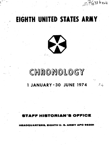 1974 Eighth Untied States Army Chronology (Vol. I