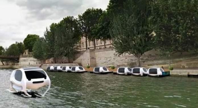 Taxis voladores en el río Sena