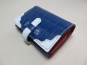 蛇腹ウォレット型押しクロコ青x赤190319e