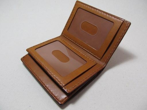 中ベラ付二つ折りパスケース茶 190809