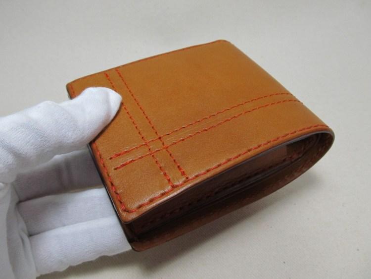 二つ折り財布上開き3連キャメル200911