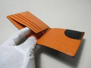 オレンジ革型押しクロコ革マネークリップ210601