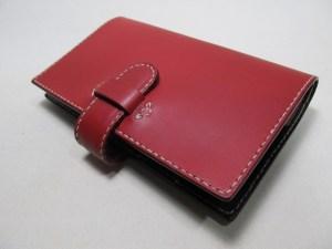 手帳カバーハイタイドB6スリム赤xチョコ革2106073