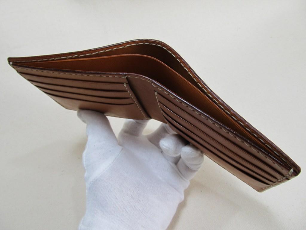 二つ折り財布小銭入れ無しキャメル210530