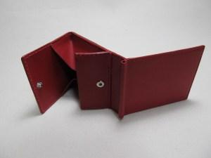 赤いマネークリップボックスコイン付210622革製品