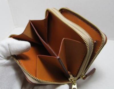 ダブルラウンドファスナー財布茶革1