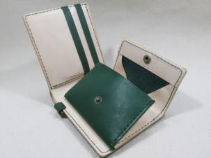 二つ折りウォレット深緑xヌメ
