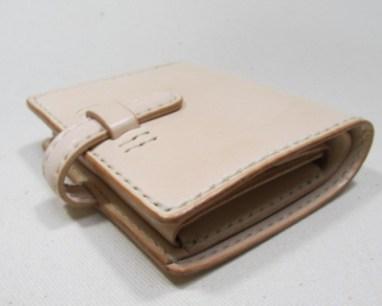 コンパクト二つ折り財布ヌメ革