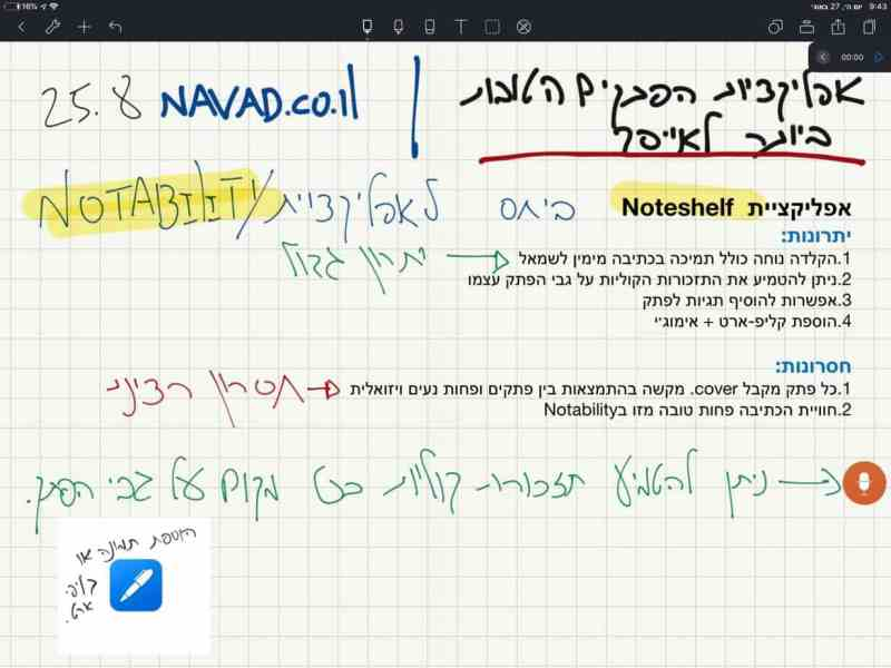 Noteshelf אפליקציית פתקים המשלבת בין כתיבה להקלדה בעברית