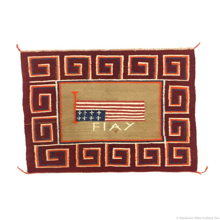 Navajo Single Saddle Pictorial Blanket with Flag Design