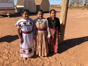 Young Navajo Girls in pretty skirts