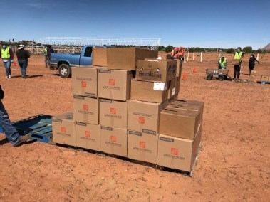 Boxed relief supplies for Navajo Nation