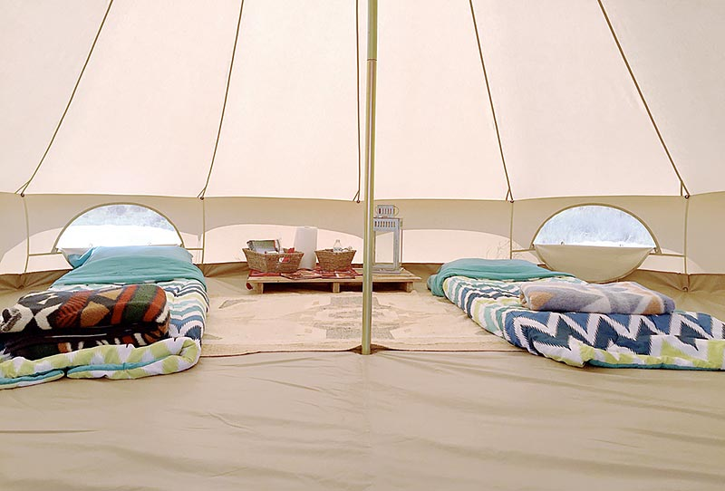 The Sibley bell, a canvas camping tent, is the newest accommodation at Shash Diné Eco Retreat. The Sibley bell is known to be a class of its own, connecting guests to the purity of nature. (Times photo – Krista Allen)