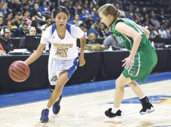 Navajo Times | Donovan Quintero Valley Lady Pirate Valiyah Yazzie (21) looks to drive the ball around a Thatcher Lady Eagle defender Saturday in Prescott Valley, Arizona.
