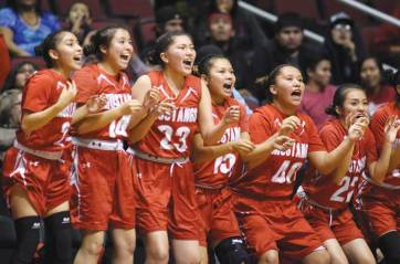 Navajo Times | Donovan Quintero The Monument Valley Lady Mustangs cheer Friday in Glendale, Ariz.
