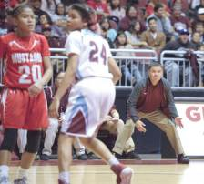 Navajo Times | Donovan Quintero Ganado Lady Hornet head coach Mike Bitsuie reacts to team's defensive positions Friday in Glendale, Ariz.