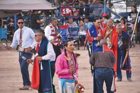 Navajo Times | Rima Krisst Honoring veterans — There was great participation and a lot of spectators in attendance for the Navajo Nation Fair Gourd Dance.