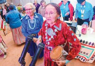 Navajo Times | Krista Allen A singing duo performs during the Elder Fest at the 50th annual Western Navajo Fair on Oct. 11.