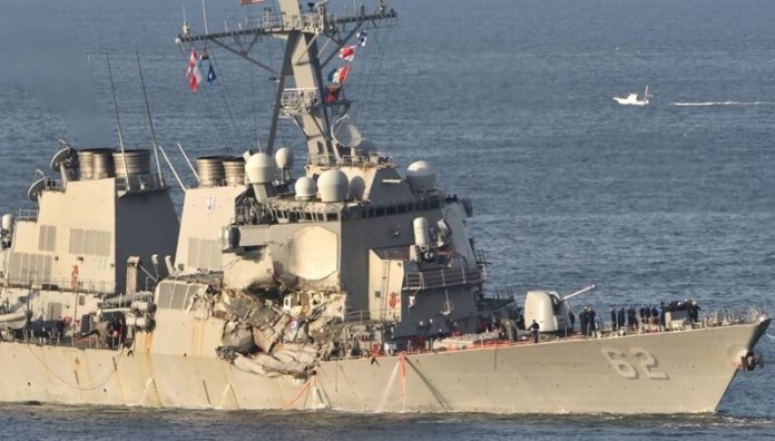 USS Fitzgerald after the collision