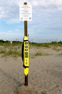 Example of proposed rescue tube station to be placed at the 12 public access points West of the fishing pier.