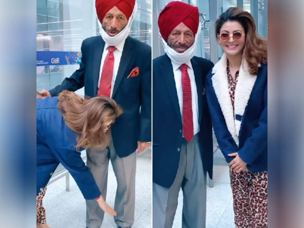 Urvashi Rautela touched Milkha Singh's feet at the airport, video goes viral