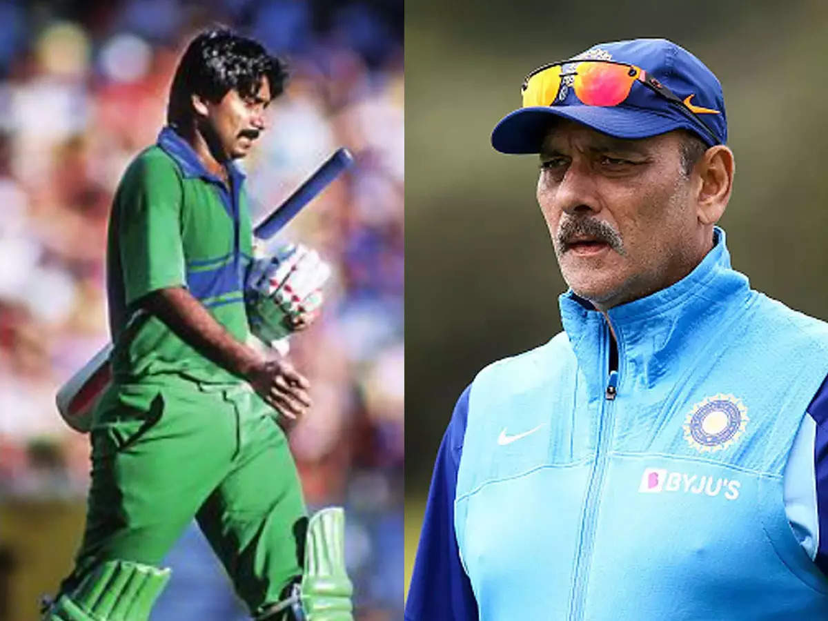 Shastri chases Miandad with shoe in hand: Javed Miandad runs away with peach shoes Ravi Shastri: Ravi Shastri chases after Javed Miandad