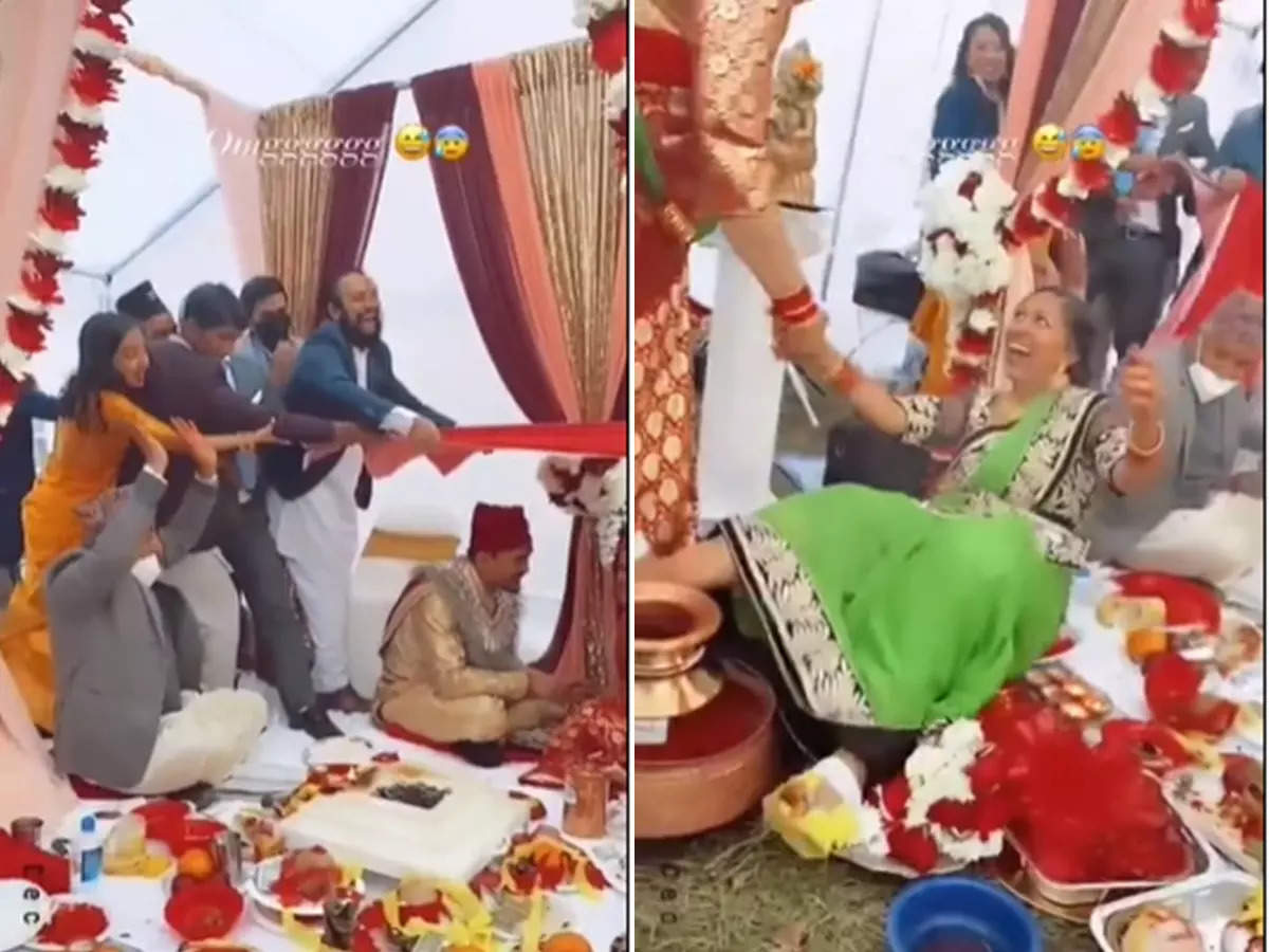 Viral video of the bride and groom in the tent: Viral video: The bride and groom were sitting in the tent The wedding guests fell in the tent Video of the fire went on social media