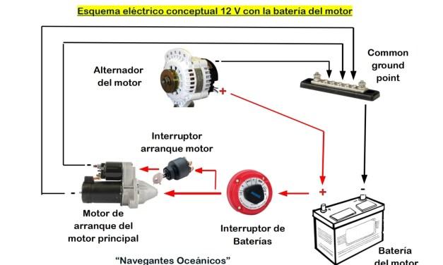 Esquema eléctrico de un velero (II). Conexiones de la batería del MOTOR.
