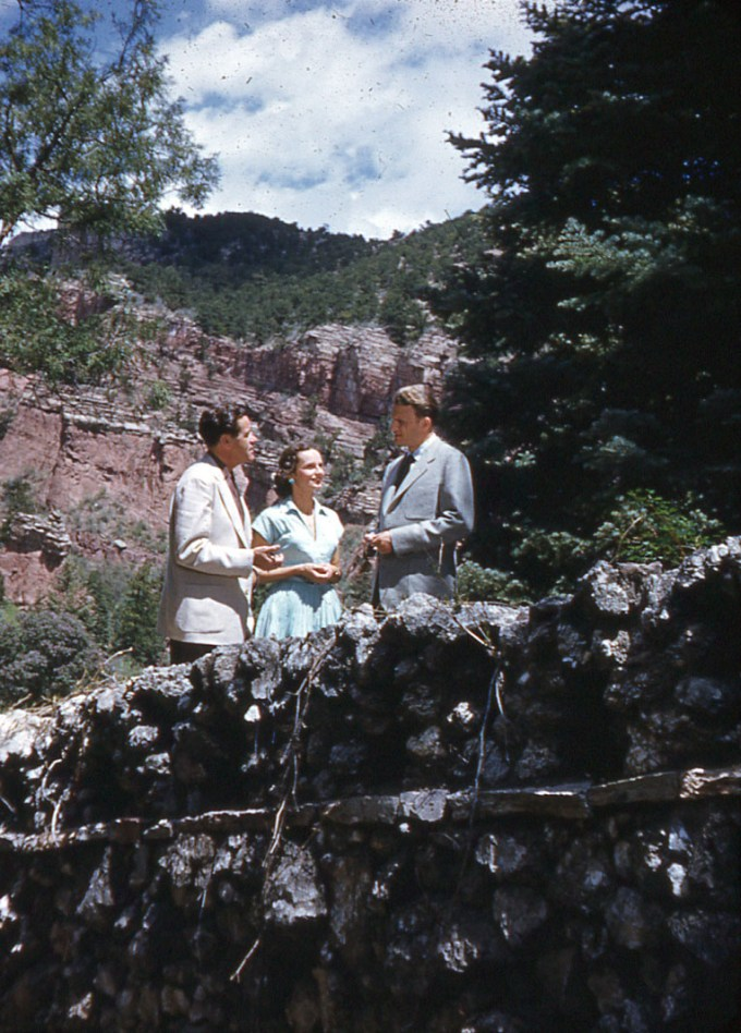 Dawson Trotman with Billy and Ruth Graham on Bridge