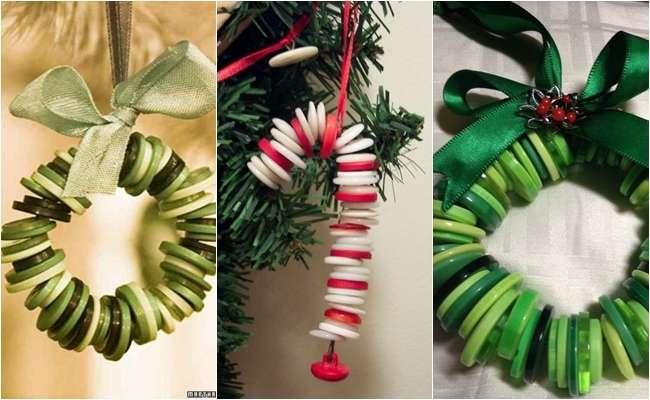 adornos de navidad con botones