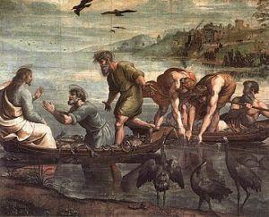 Peter approaching Jesus