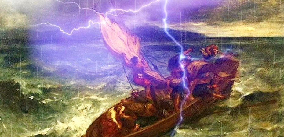 Show Jesus sleeping in the boat during storm, before he tells the storm to play nice with others