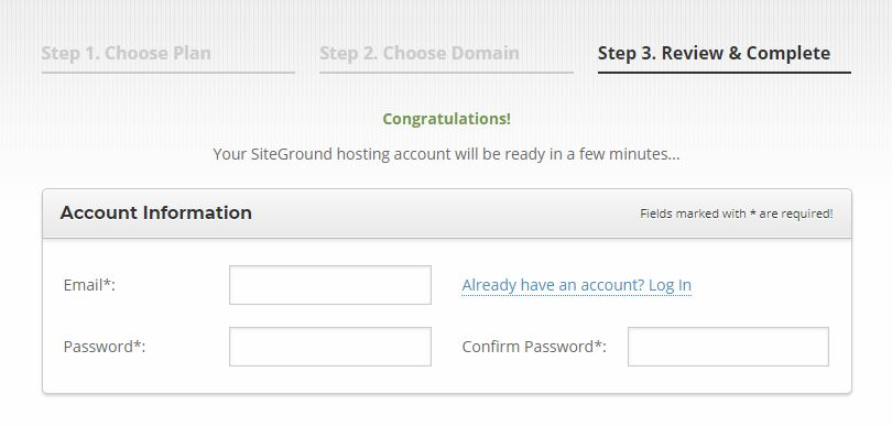 Using SiteGround Account Information