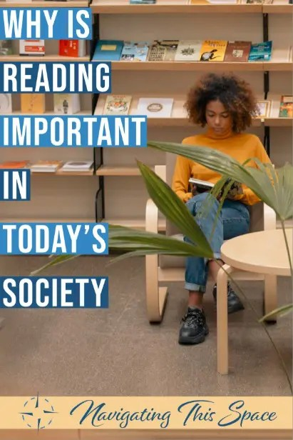 Woman sits in a library reading book - Importance of Reading Books