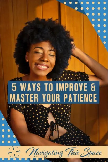 Woman with her hand on her head with a big smile on her face, mastering patience