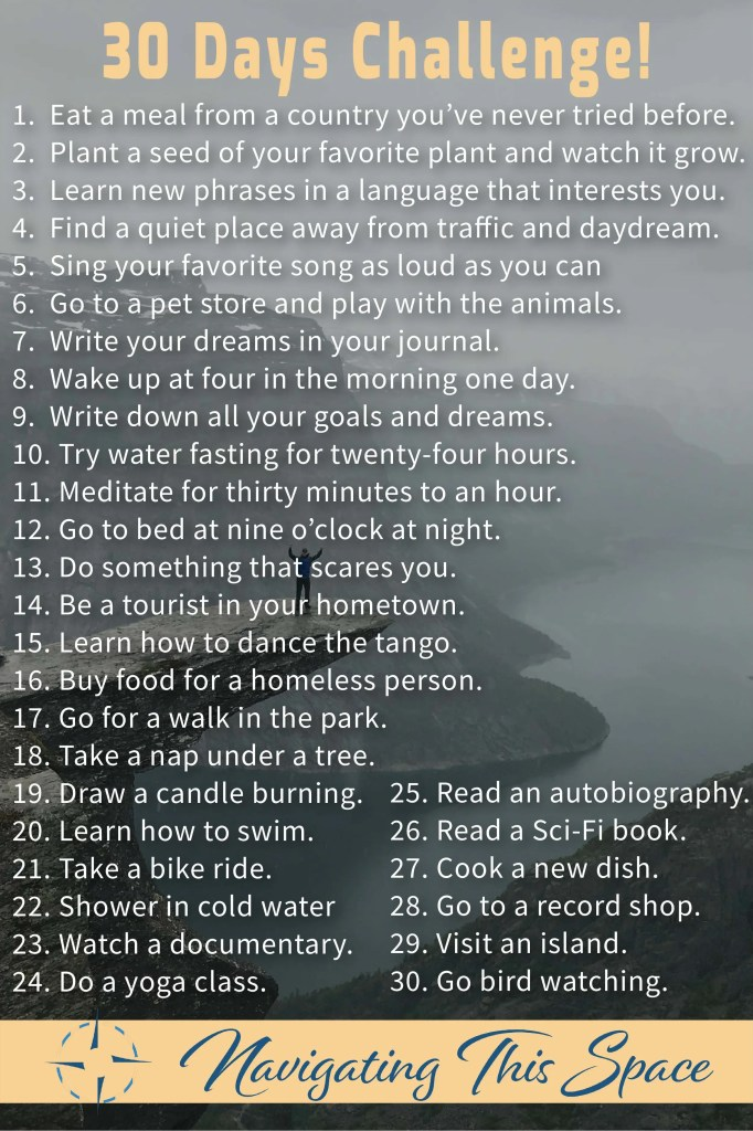 30 Days Challenge to try every day for a month