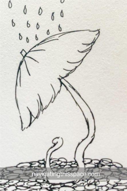 hand drawn illustration of a mushroom tree in the rain