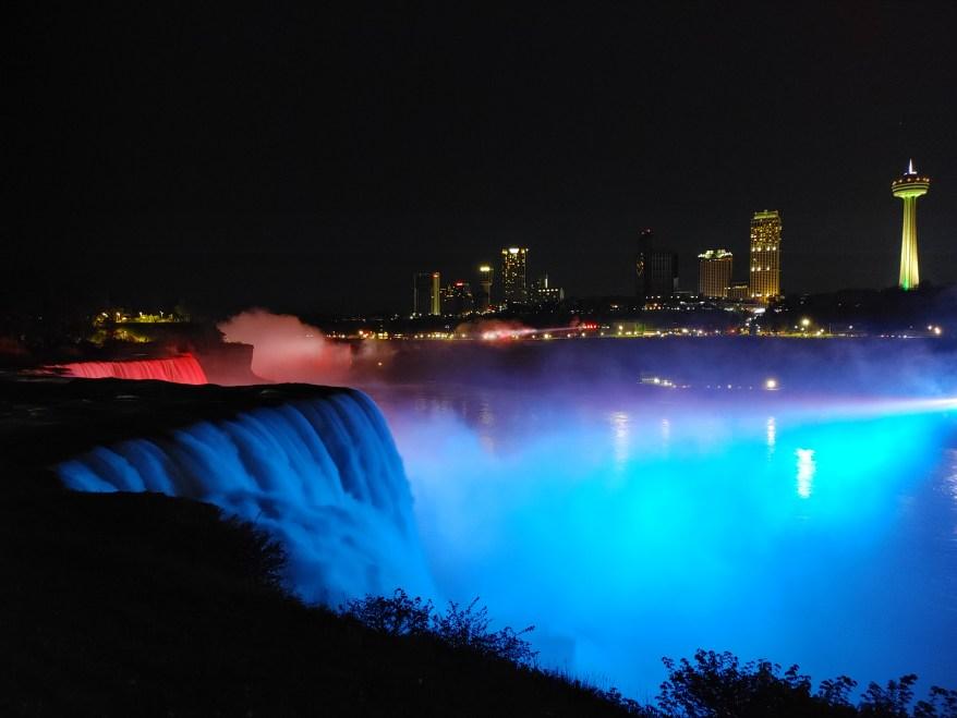 Illumination of the falls, Niagara Falls with kids