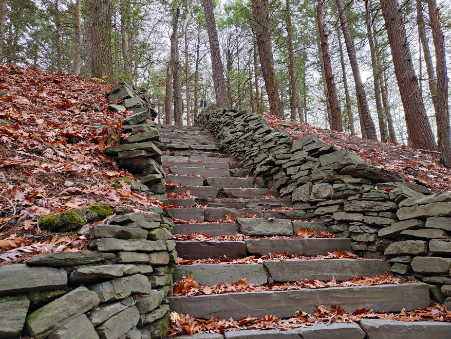 A section of one of the many staircases along the South Rim Trail in Taughannock Falls State Park