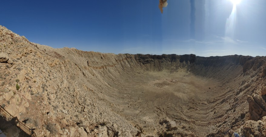 Panoramic view of the Meteor Crater from the observation deck.